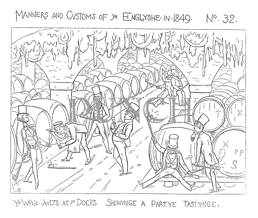 Manners and Customs of Ye Englyshe in 1849 No 32. Ye wyne vaults at ye docks showynge a partye tastynge.