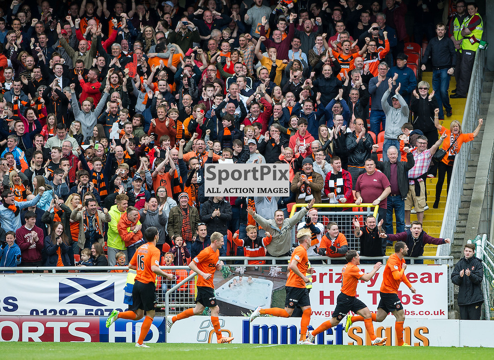 Dundee United v Dundee, SPFL Premiership, Tannadice Park, 24 May 2015<br />Nadir Cifcti celebrates Uniteds second goal during the final Dundee derby of the 2014/15 season at Tannadice Park.<br />ROSS PARKER | SportPix.org.uk
