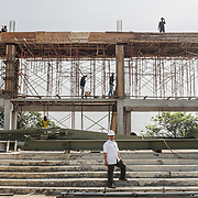 Construction site of the new Santa Clara church in Bekasi, West Java, Indonesia