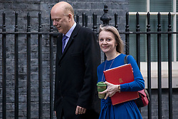 © Licensed to London News Pictures. 08/01/2019. London, UK. Transport Secretary Chris Grayling (L) and Chief Secretary to the Treasury Elizabeth Truss (R) on Downing Street for the Cabinet meeting. Photo credit: Rob Pinney/LNP