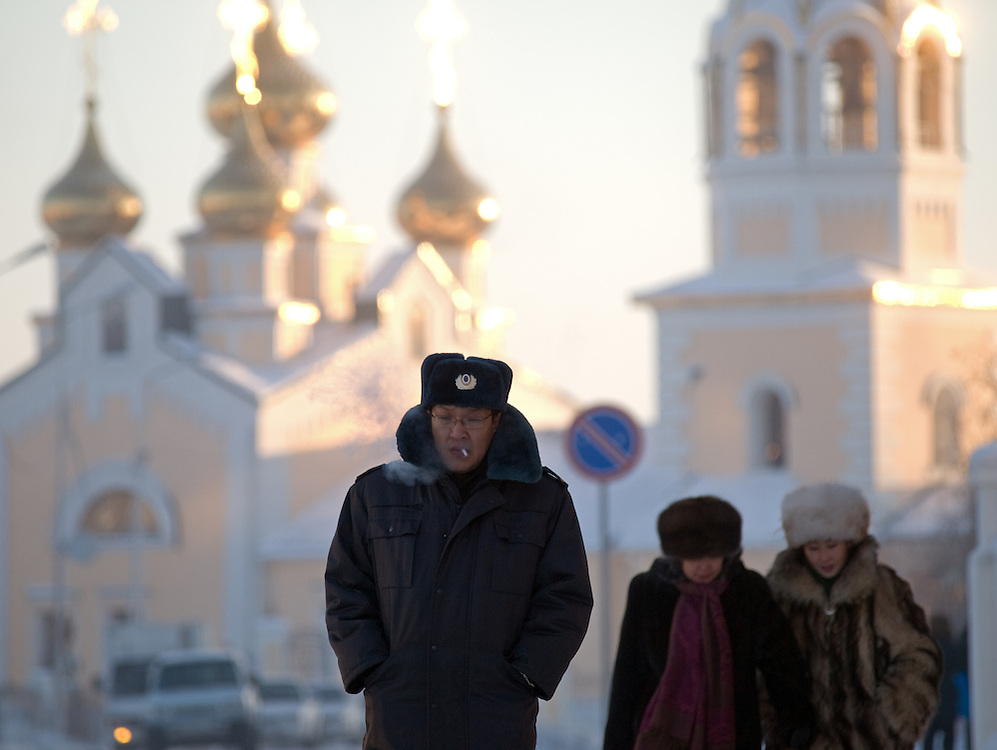 Passersby in the city center of Yakutkk. Yakutsk was founded in 1632 and celebrated 2007 the 375th anniversary. Yakutsk is a city in the Russian Far East, located about 4 degrees (450 km) below the Arctic Circle. It is the capital of the Sakha (Yakutia) Republic (formerly the Yakut Autonomous Soviet Socialist Republic), Russia and a major port on the Lena River. Yakutsk is one of the coldest cities on earth, with winter temperatures averaging -40.9 degrees Celsius.