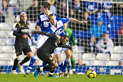 BIRMINGHAM, ENGLAND - Sunday, November 1, 2009: Manchester City's Shaun Wright-Phillips and Birmingham City's Lee Bowyer during the Premiership match at St Andrews. (Pic by David Rawcliffe/Propaganda)