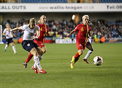 England's Ellen White (Arsenal) shoots - Photo mandatory by-line: Robin White/JMP - Tel: Mobile: 07966 386802 26/10/2013 - SPORT - FOOTBALL - The Den - Millwall - England Women v Wales Women - World Cup Qualifier - Group 6
