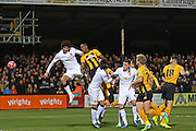 Cambridge United Tom Elliott heads at goal during the The FA Cup match between Cambridge United and Manchester United at the R Costings Abbey Stadium, Cambridge, England on 23 January 2015. Photo by Phil Duncan.