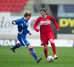 LLANELLI, WALES - Thursday, March 31, 2011: Turkey's Leyla Gu?ngo?r in action against Iceland during the UEFA European Women's Under-19 Championship Second Qualifying Round (Group 3) match at Parc Y Scarlets. (Photo by David Rawcliffe/Propaganda)