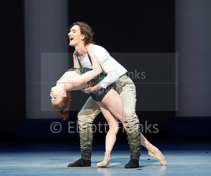 Bolshoi Ballet <br /> The Taming of the Shrew <br /> choreography by Jean-Christophe Maillot <br /> at The Royal Opera House, Covent Garden, London, Great Britain <br /> rehearsal of act 1<br /> 3rd August 2016 <br /> <br /> Ekaterina Krysanova as Katherina<br /> Vladislav Lantratov as Petruchio <br /> <br /> Photograph by Elliott Franks <br /> Image licensed to Elliott Franks Photography Services