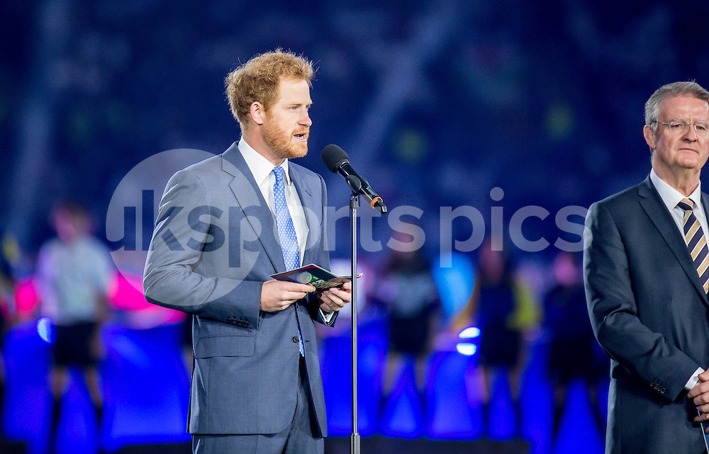 Prince Harry gives his speech during opening ceremony at the Rugby World Cup 2015 Pool A match between England and Fiji played at Twickenham Stadium, London on 18 September 2015. Photo by Liam McAvoy.