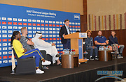 Steve Cram (GBR),  center, moderates a news conference at the Intercontinental Doha Hotel-The City, Thursday, May 2, 2019, in Doha, Qatar prior to the 2019 IAAF Diamond League Doha meeting. From left: Dina Asher-Smith (GBR), Sam Kendricks (USA), Sebastian Coe (GBR), Dr. Thani bin Abdulrahman al-Kuwari (QAT), Cram, Tianna Bartoletta (USA), Brianna Rollins McNeal (USA), Tom Walsh aka Tomas Walsh (NZL) and Steve Cram (GBR). Jiro Mochizuki/Image of Sport via AP)