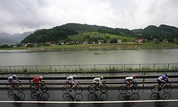 Peloton near river Savinja in last 4th stage of the 15th Tour de Slovenie from Celje to Novo mesto (157 km), on June 14,2008, Slovenia. (Photo by Vid Ponikvar / Sportal Images)/ Sportida)