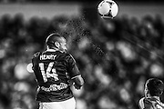 HARRISON, NJ - SEPTEMBER 14:  Thierry Henry #14 of New York Red Bulls heads a ball during the game against the Toronto FC at Red Bulls Arena on September 14, 2013. (Photo By: Rob Tringali)