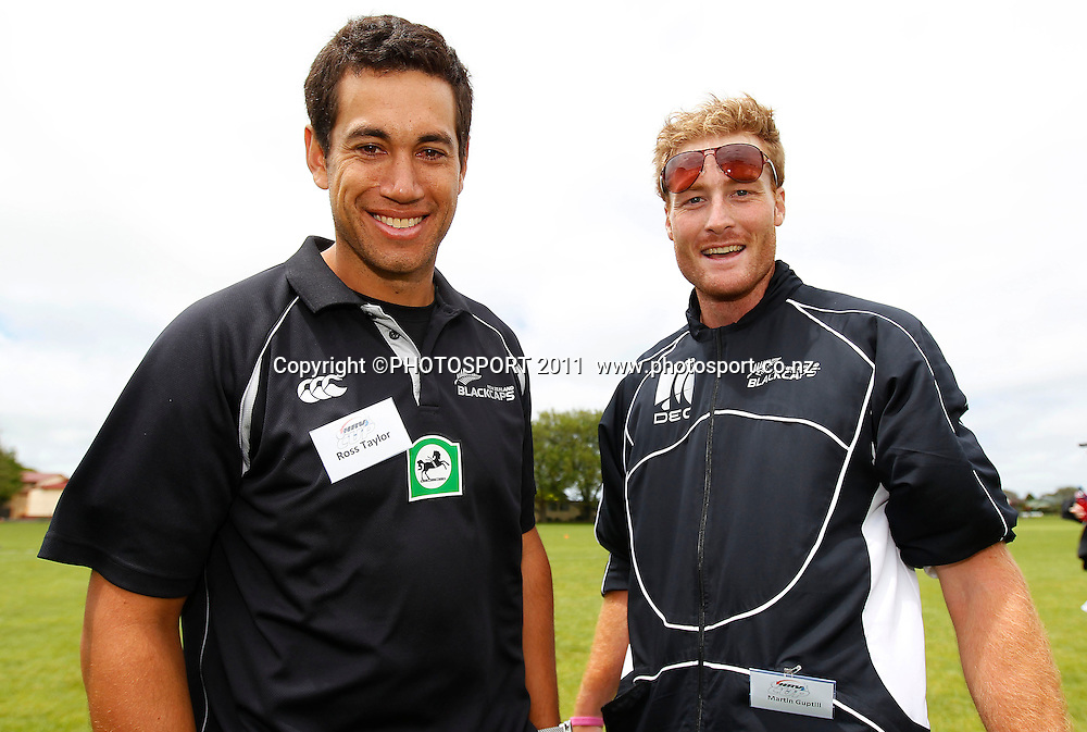 Blackcaps captain Ross Taylor and Martin Guptill during the HRV Cup Cricket Blackcaps Day, Papatoetoe Recreation Centre, Auckland, 10 November 2011. Photo: Simon Watts / photosport.co.nz