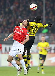24.01.2016, Stadion An der Alten Foersterei, Berlin, GER, Testspiel, 1. FC Union Berlin vs. Borussia Dortmund, im Bild Kopfballduell zwischen Michael Parensen (#29, 1. FC Union Berlin) und Adrian Ramos (#20, Borussia Dortmund) // during a preperation Football Match between 1. FC Union Berlin and Borussia Dortmund at the Stadion An der Alten Foersterei in Berlin, Germany on 2016/01/24. EXPA Pictures © 2016, PhotoCredit: EXPA/ Eibner-Pressefoto/ Hundt<br /> <br /> *****ATTENTION - OUT of GER*****
