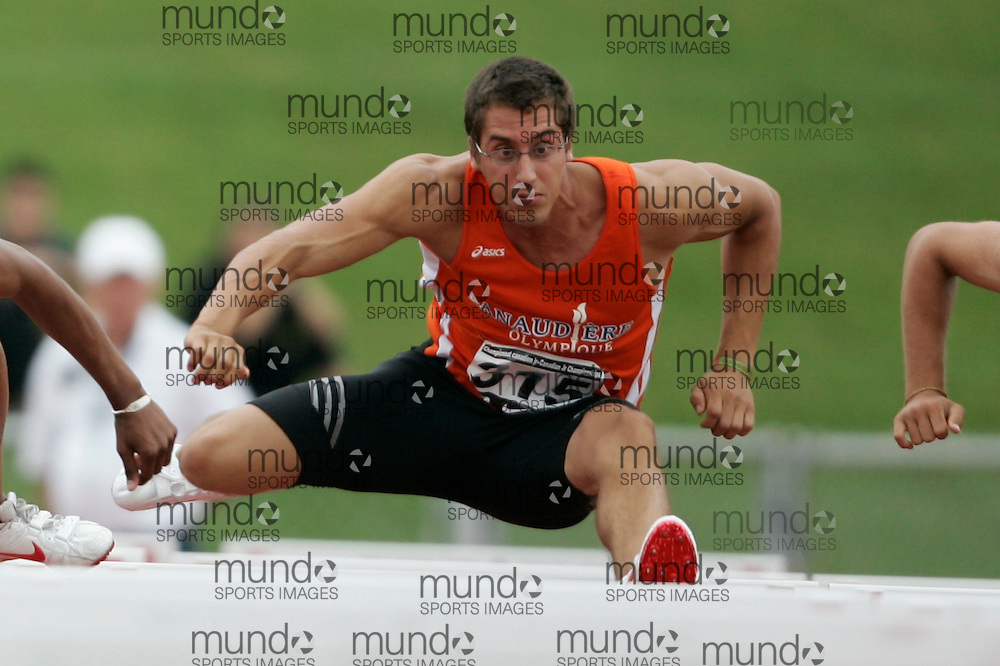(Charlottetown, Prince Edward Island -- 20090717) Gabriel El Hanbli of Lanaudiere-Olympique competes in the sprint hurdles at the 2009 Canadian Junior Track & Field Championships at UPEI Alumni Canada Games Place on the campus of the University of Prince Edward Island, July 17-19, 2009.  Copyright Geoff Robins / Mundo Sport Images , 2009...Mundo Sport Images has been contracted by Athletics Canada to provide images to the media.
