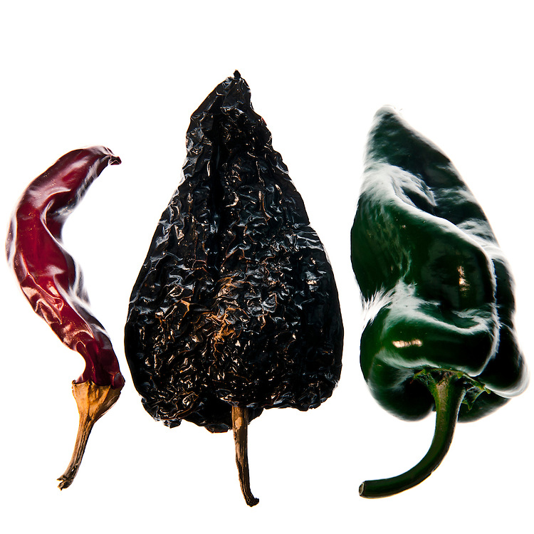 Dried red California (Anaheim) chile pepper, roasted poblano chile.