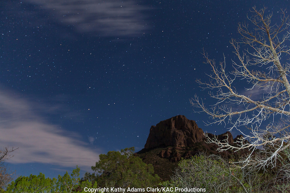Pinpoint stars at twilight in Big Bend National Park; Chihuahuan Desert; Texas in summer.