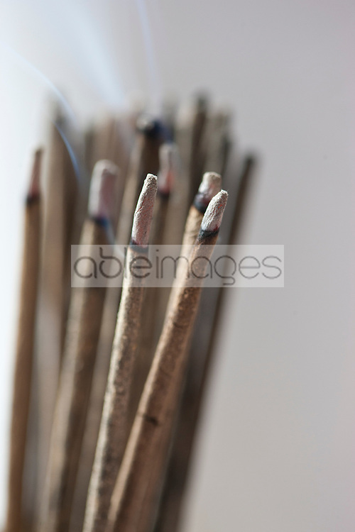 Bunch of Burning Incense Sticks