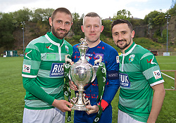 RHOSYMEDRE, WALES - Sunday, May 5, 2019: The New Saints goal scorers Greg Draper (L) and Ryan Brobbel (R) with captain Paul Harrison (C) celebrate with the trophy after the FAW JD Welsh Cup Final between Connah's Quay Nomads and The New Saints at The Rock. The New Saints won 3-0. (Pic by David Rawcliffe/Propaganda)