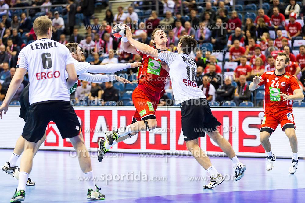 29.01.2016, Tauron Arena, Krakau, POL, EHF Euro 2016, Norwegen vs Deutschland, Halbfinale, im Bild Sander Sagosen (Nr. 5, Aalborg Handbold) gegen Fabian Wiede (Nr. 10, Fuechse Berlin). // during the 2016 EHF Euro semi final match between Norway and Germany at the Tauron Arena in Krakau, Poland on 2016/01/29. EXPA Pictures &copy; 2016, PhotoCredit: EXPA/ Eibner-Pressefoto/ Koenig<br /> <br /> *****ATTENTION - OUT of GER*****