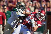 FAYETTEVILLE, AR - OCTOBER 25:  Drew Morgan #80 of the Arkansas Razorbacks catches a pass while being covered by Jimmy Jean #7 of the UAB Blazers at Razorback Stadium on October 25, 2014 in Fayetteville, Arkansas.  The Razorbacks defeated the Blazers 45-17.  (Photo by Wesley Hitt/Getty Images) *** Local Caption *** Drew Morgan; Jimmy Jean