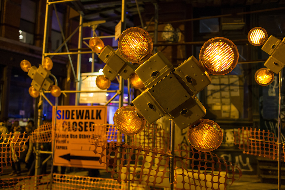 An art installation using synchronized flashing warning lights, part of the Ideas City festival on Mulberry Street.