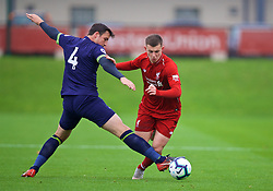 KIRKBY, ENGLAND - Sunday, October 21, 2018: Liverpool's Ben Woodburn (R) and Derby County's George Thorne during the Under-23 FA Premier League 2 Division 1 match between Liverpool FC and Derby County at The Kirkby Academy. (Pic by David Rawcliffe/Propaganda)