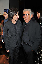 Left to right, RONNIE WOOD and ROBERTO CAVALLI at a party hosted by Roberto Cavalli to celebrate his new Boutique's opening at 22 Sloane Street, London followed by a party at Battersea Power Station, London SW8 on 17th September 2011.
