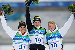 Olympic Winter Games Vancouver 2010 - Olympische Winter Spiele Vancouver 2010, Biathlon - Women's 7,5 km Sprint, Magdalena NEUNER (GER) celebrates second place (l-r), Anastazia KUZMINA (SVK) celebrates first place and Marie DORIN (FRA) celebrates third place, *Photo by Malte Christians / HOCH ZWEI / SPORTIDA.com.