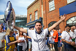 © Licensed to London News Pictures. 01/06/2019. London, UK. Thousands of Tottenham Hotspur fans arriving at the club's Whitehart Lane stadium in Tottenham, north London to watch live screenings of the Champions League Final between Tottenham and Liverpool this evening in Madrid. Photo credit: Dinendra Haria/LNP