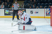 KELOWNA, CANADA - OCTOBER 16: Corbin Boes #1 of the Lethbridge Hurricanes makes a save against the Kelowna Rockets  on October 16, 2013 at Prospera Place in Kelowna, British Columbia, Canada.   (Photo by Marissa Baecker/Shoot the Breeze)  ***  Local Caption  ***