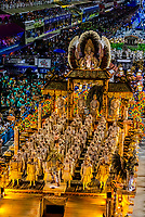 "One of the floats in the Carnaval parade of Unidos da Tijuca samba school contains men dressed as the Chinese Terracotta Warriors.            The theme of the parade is ""Where Dreams Live"" and tells the history of architecture and urbanism. Sambadrome, Rio de Janeiro, Brazil."