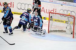 27.04.2014, Saturn Arena, Ingolstadt, GER, DEL, ERC Ingolstadt vs Koelner Haie, Finale, Best of seven Serie, 6. Spiel, im Bild Die Entscheidung, Koeln schiesst das Tor zum 7. Spiel // during the DEL Icehockey League Playoff final 6th match of a best of seven serie between ERC Ingolstadt and Koelner Haie at the Saturn Arena in Ingolstadt, Germany on 2014/04/27. EXPA Pictures © 2014, PhotoCredit: EXPA/ Eibner-Pressefoto/ Schreyer<br /> <br /> *****ATTENTION - OUT of GER*****
