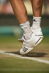 LONDON, ENGLAND - Wednesday, June 30, 2010: The heavilly strapped left ankle of Andy Murray (GBR) during the Gentlemen's Singles Quarter-Final on day nine of the Wimbledon Lawn Tennis Championships at the All England Lawn Tennis and Croquet Club. (Pic by David Rawcliffe/Propaganda)