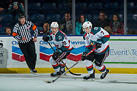 KELOWNA, CANADA - JANUARY 5: Libor Zabransky #7 of the Kelowna Rockets skates with the puck against the Seattle Thunderbirds on January 5, 2017 at Prospera Place in Kelowna, British Columbia, Canada.  (Photo by Marissa Baecker/Shoot the Breeze)  *** Local Caption ***