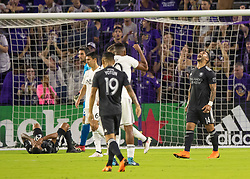 April 21, 2018 - Orlando, FL, U.S. - ORLANDO, FL - APRIL 21: Orlando City forward Dom Dwyer (14) just misses a goal during the MLS soccer match between the Orlando City FC and the San Jose Earthquakes at Orlando City SC on April 21, 2018 at Orlando City Stadium in Orlando, FL. (Photo by Andrew Bershaw/Icon Sportswire) (Credit Image: © Andrew Bershaw/Icon SMI via ZUMA Press)