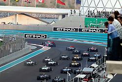 Motorsports / Formula 1: World Championship 2010, GP of Abu Dhabi, 05 Sebastian Vettel (GER, Red Bull Racing), 02 Lewis Hamilton (GBR, Vodafone McLaren Mercedes), 08 Fernando Alonso (ESP, Scuderia Ferrari Marlboro), 01 Jenson Button (GBR, Vodafone McLaren Mercedes), start, mass, Masse, Menge