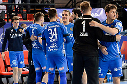 Urban Lesjak and David Razgor of Celje PL celebrate after winning during handball match between Meshkov Brest and RK Celje Pivovarna Lasko in bronze medal match of SEHA- Gazprom League Final 4, on April 15, 2018 in Skopje, Macedonia. Photo by  Sportida