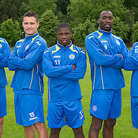 St Johnstone Signings....26.06.12<br /> New St Johnstone signings from left, Gary Miller, Johnny Tuffey, Nigel Hasselbaink, Gregory Tade and Thomas Scobbie.<br /> Picture by Graeme Hart.<br /> Copyright Perthshire Picture Agency<br /> Tel: 01738 623350  Mobile: 07990 594431