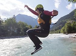14.07.2015, Ainet, AUT, Eishockey Cracks bei Raftingtour auf der Isel, im Bild Ruslan Gelfanov (EC VSV, EBEL) // Hockey Cracks during a rafting tour on the East Tyrolean glacial river Isel. Ainet, Austria on 2015/07/14. EXPA Pictures © 2015, PhotoCredit: EXPA/ Johann Groder