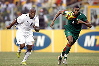 Fotball<br /> Afrika mesterskapet 2008<br /> Foto: DPPI/Digitalsport<br /> NORWAY ONLY<br /> <br /> FOOTBALL - AFRICAN CUP OF NATIONS 2008 - QUALIFYING ROUND - GROUP A - 28/01/2008 - GHANA v MOROCCO - MANUEL AGOGO (GHA) / ABDESLAM OUADDOU (MOR) <br /> <br /> Ghana v Marokko
