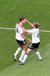 05.07.2011, Borussia-Park, Moenchengladbach, GER, FIFA Women Worldcup 2011, Gruppe A,  Frankreich (FRA) vs Deutschland (GER), im Bild: Torjubel / Jubel  nach dem 0:1 durch Merstin Garefrekes (GER #18, Frankfurt) (L) mit Simone Laudehr (GER #06, Duisburg)..// during the FIFA Women´s Worldcup 2011, Pool A, France vs Germany on 2011/06/26, Borussia-Park, Moenchengladbach, Germany. EXPA Pictures © 2011, PhotoCredit: EXPA/ nph/  Mueller       ****** out of GER / CRO  / BEL ******