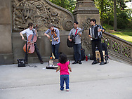 The Streetlight Cadence, a band from Hawaii visiting New York, at Bethesda Terrace in Central Park.