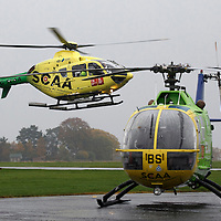 FREE TO USE PHOTOGRAPH....30.10.15<br /> Scotland's Charity Air Ambulance (SCAA) unveiled it's new helicopter at Perth airport this morning a EC135 T2i (pictured) which replaces the Bolkow 105 helicopter which is retiring from service. The new helicopter will increase speed, range, endurance and payload, allow SCAA to fly at night and in cloud. Scottish Health Minister Shona Robison MSP helped unveil the new helicopter<br /> for further info please contact Maureen Young on 07778 779000<br /> Picture by Graeme Hart.<br /> Copyright Perthshire Picture Agency<br /> Tel: 01738 623350  Mobile: 07990 594431