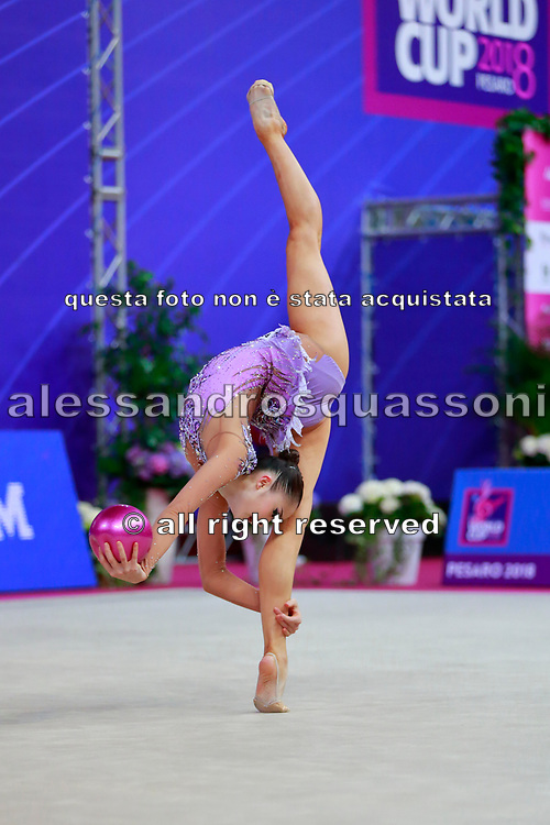 Minagawa Kaho during Qualification of ball at World Cup Pesaro 2018.<br /> She was born 20 August 1997 in Chiba Prefecture, Japan, is a Japanese individual rhythmic gymnast.