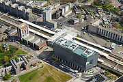 Nederland, Zuid-Holland, Leiden, 09-04-2014; station Leiden centraal, stationsgebied. Poortgebouw en<br /> Central railway station and surroundings with old buildings of the University Hospital of the city of Leiden. <br /> luchtfoto (toeslag op standard tarieven);<br /> aerial photo (additional fee required);<br /> copyright foto/photo Siebe Swart.