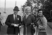 10/05/1965<br /> 05/10/1965<br /> 10 May 1965<br /> Left to right, Mr. and Mrs. Ian Lyon with Mrs. Hugh Spencer-Phillips at the Leopardstown Races.