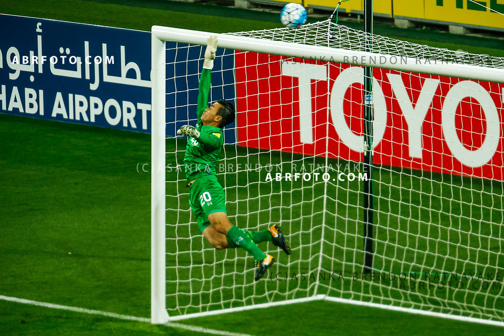 MELBOURNE, AUSTRALIA - SEPTEMBER 5 :  Sinthaweechai Hathairattanakool of Thailand dives as the ball goes over the bar during the Stage 3 Group World Cup Football Qualifiers between Australia Vs Thailand at the Melbourne Rectangular Stadium, Melbourne, Australia 5 September 2017.
