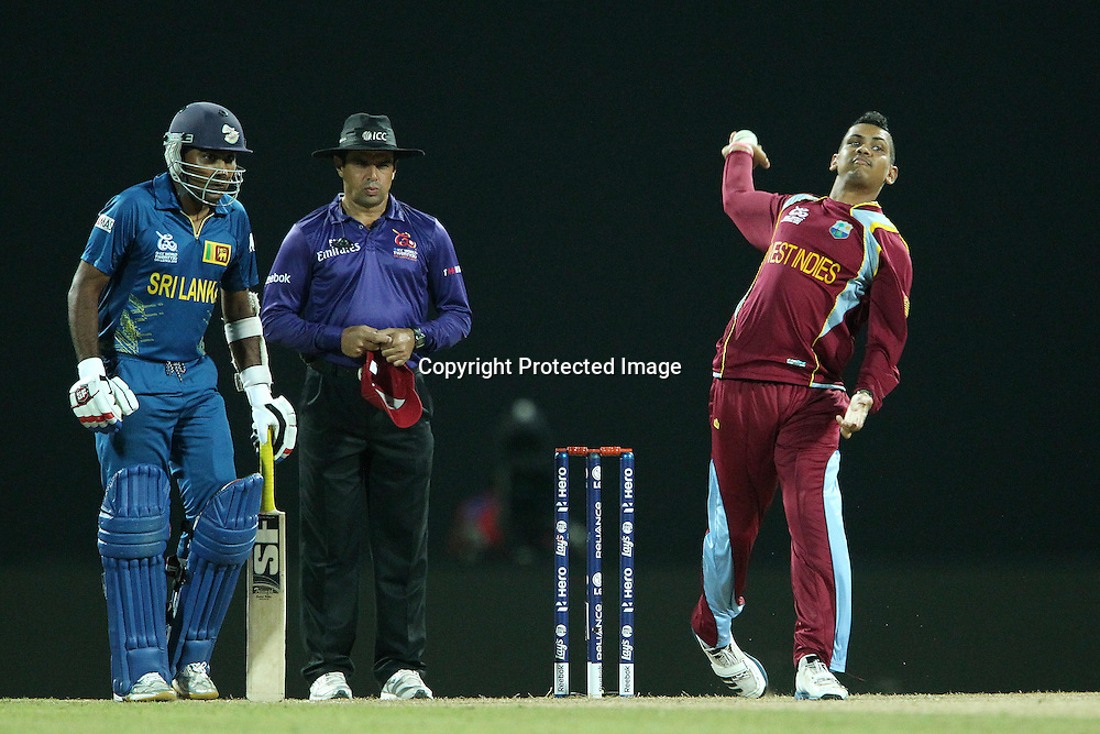 Sunil Narine of The West Indies during the ICC World Twenty20 Super 8s match between Sri Lanka and The West Indies held at the  Pallekele Stadium in Kandy, Sri Lanka on the 29th September 2012<br /> <br /> Photo by Ron Gaunt/SPORTZPICS