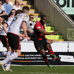 Christian Nade passes forward during the St Mirren v Dumbarton Scottish Championship 08 April 2017<br /> <br /> <br /> <br /> <br /> <br /> (c) Andy Scott | SportPix.org.uk