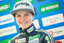 Ema Klinec during press conference of Slovenian Ski jumping Women team before new season 2015/16, on December 1, 2015 in Cristal palace, BTC, Ljubljana, Slovenia. Photo by Vid Ponikvar / Sportida
