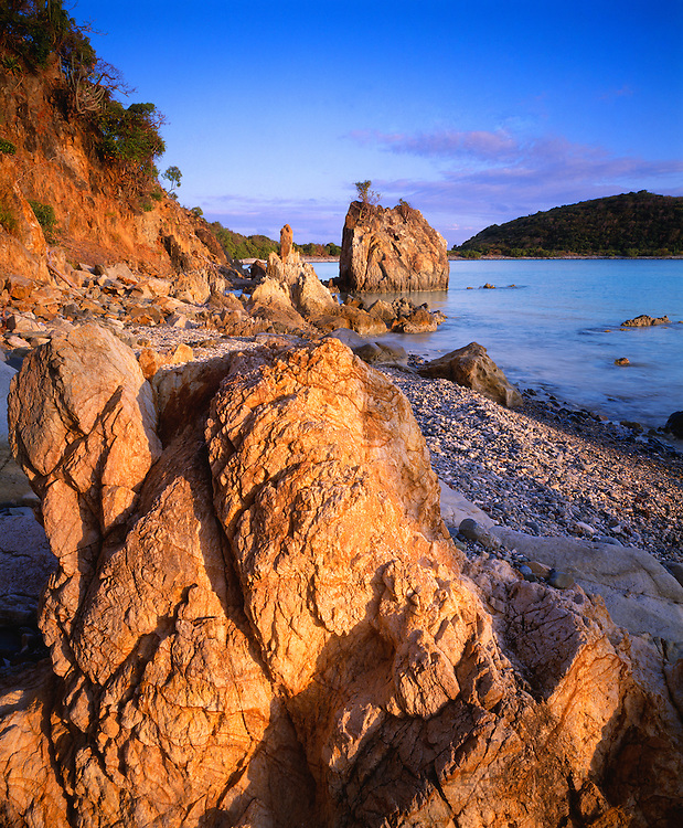 6201-1017C ~ Copyright: George H. H. Huey ~ Sea stacks in Coral Bay, St. John Island. U.S. Virgin islands National Park. Caribbean.